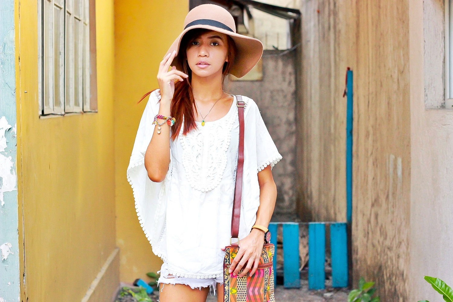 SUMMER-OUTFIT-WHITE-POMPOM-BOHO-PEASANT-TOP-DIME-STORE-RIPPED ...